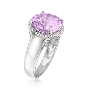 5.70 Carat Amethyst and .10 ct. t.w. White Topaz Ring in Sterling Silver