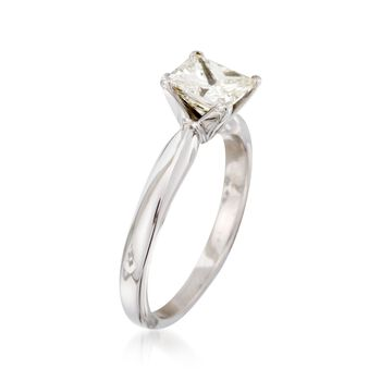 C. 2000 Vintage 1.00 Carat Princess-Cut Diamond Solitaire Engagement Ring in 14kt White Gold. Size 5, , default