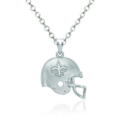 "Sterling Silver New Orleans Saints Football Helmet Logo Pendant Necklace. 18"", , default"