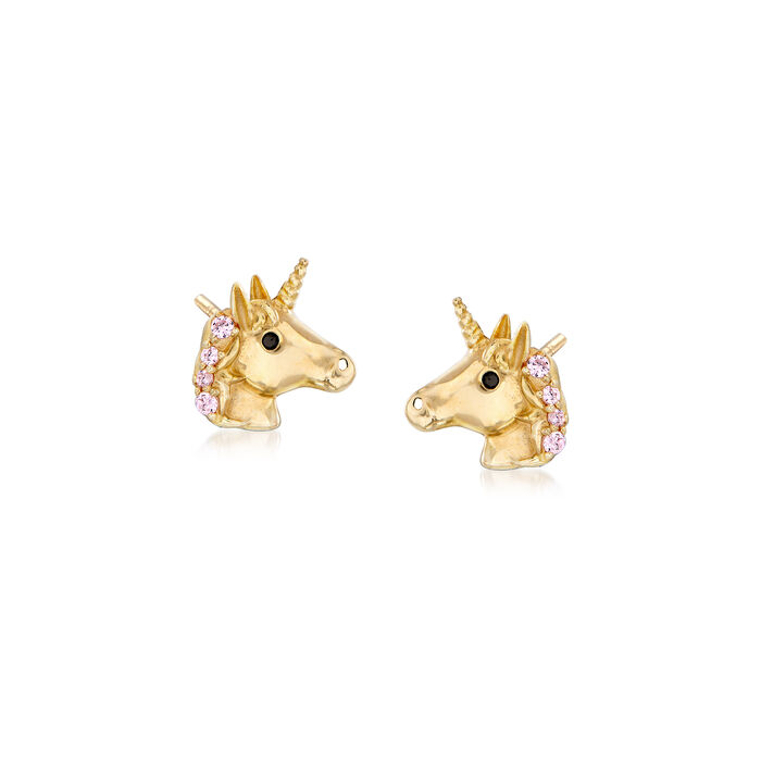 Child's 14kt Yellow Gold Unicorn Stud Earrings with Pink and Black CZs, , default