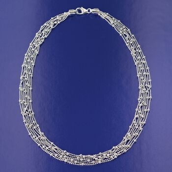 """Italian Sterling Silver Seven Strand Bead Chain Necklace. 18"""", , default"""