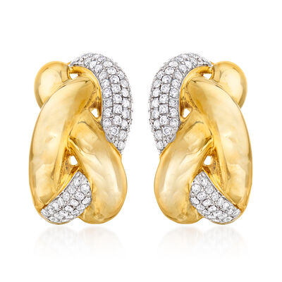 .90 ct. t.w. Pave Diamond Braided Earrings in 14kt Yellow Gold