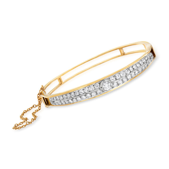C. 1950 Vintage 2.25 ct. t.w. Diamond Double-Row Bangle Bracelet in 14kt Yellow Gold. 7""