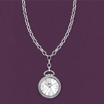 "Saint James Swarovski Crystal 30mm Watch Pendant Necklace in Silvertone. 28"", , default"