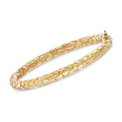 Italian 18kt Yellow Gold Scale-Patterned Bangle Bracelet, , default