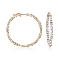 "3.00 ct. t.w. Diamond Inside-Outside Hoop Earrings in 14kt Yellow Gold. 1 1/4"", , default"