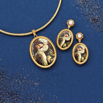 Italian Romeo and Juliet Lava Stone Pendant in 18kt Gold Over Sterling, , default
