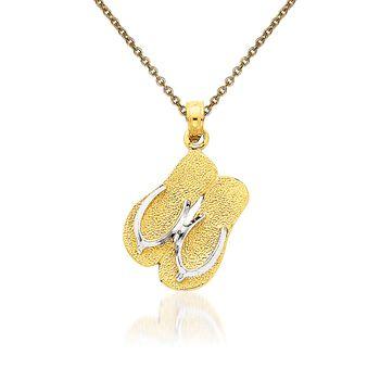 """14kt Yellow Gold Flip-Flop Pendant Necklace. 18"""", , default"""