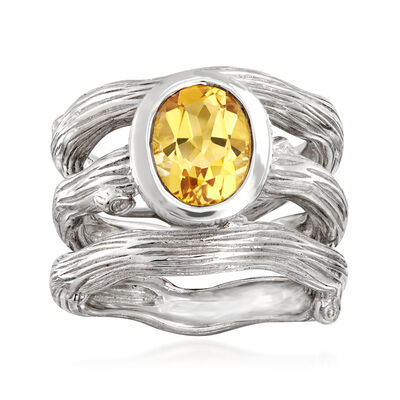 1.95 Carat Citrine Jewelry Set: Three Branch Rings in Sterling Silver, , default