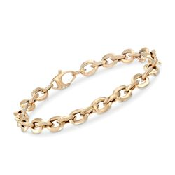 "Italian 14kt Yellow Gold Cable-Link Bracelet. 7"", , default"