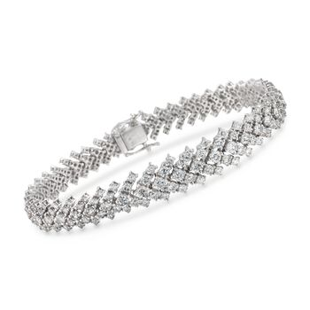 "8.49 ct. t.w. Diamond Graduated Bracelet in 18kt White Gold. 7.25"", , default"
