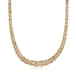 "14kt Yellow Gold Graduated Byzantine Necklace. 18"", , default"