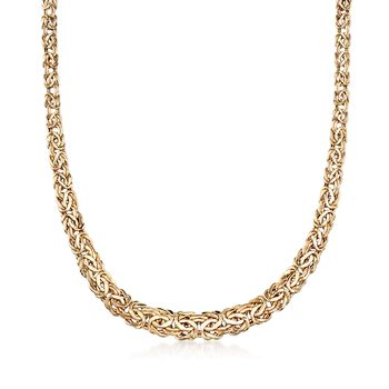 """14kt Yellow Gold Graduated Byzantine Necklace. 18"""", , default"""