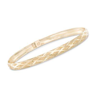 14kt Yellow Gold Crisscross Pattern Bangle Bracelet, , default