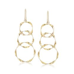 Italian 14kt Yellow Gold Graduated and Twisted Open-Circle Drop Earrings, , default