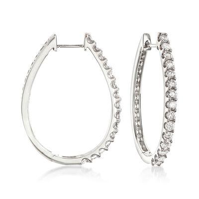 2.00 ct. t.w. Diamond Oval Hoop Earrings in 14kt White Gold, , default