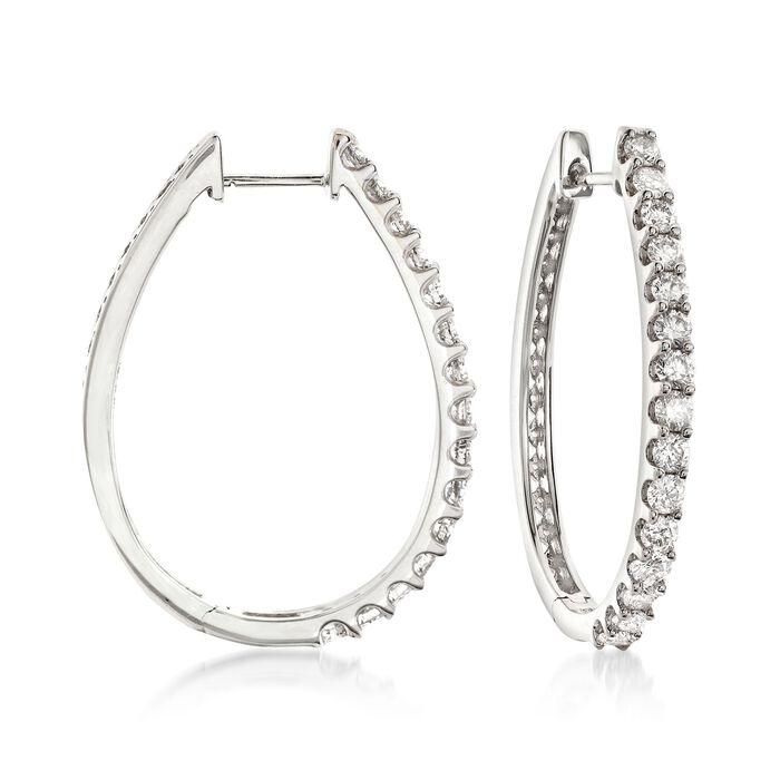 """2.00 ct. t.w. Diamond Oval Hoop Earrings in 14kt White Gold. 1 1/4"""", , default"""