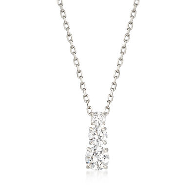 "Swarovski Crystal ""Attract"" Graduated Clear Crystal Pendant Necklace in Silvertone, , default"