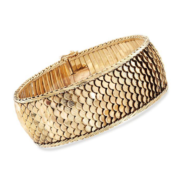 "C. 1950 Vintage 18kt Yellow Gold Scalloped Motif Wide Bracelet. 7.5"""
