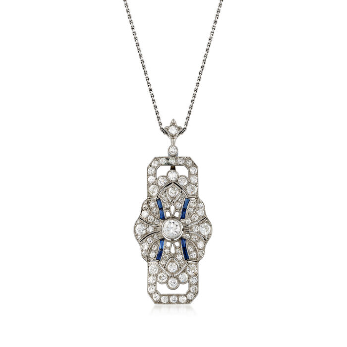 "C. 1950 Vintage Synthetic Sapphire and 3.50 ct. t.w. Diamond Pendant Necklace in Platinum. 26"", , default"