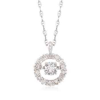 ".41 ct. t.w. Floating Diamond Halo Pendant Necklace in 14kt White Gold. 18"", , default"