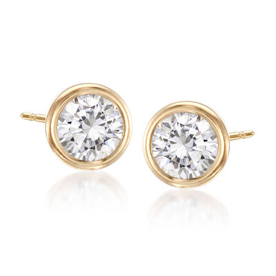 1.00 ct. t.w. Bezel-Set CZ Stud Earrings in 14kt Yellow Gold, , default