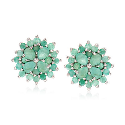 2.10 ct. t.w. Emerald Cluster Post Earrings in Sterling Silver