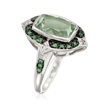 11.00 Carat Green Prasiolite and .38 ct. t.w. Multi-Gem Ring in Sterling Silver, , default