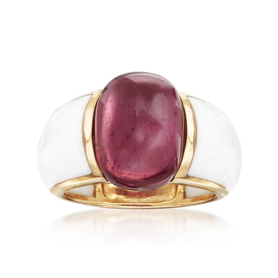 7.75 Carat Garnet and White Agate Ring in 14kt Yellow Gold, , default
