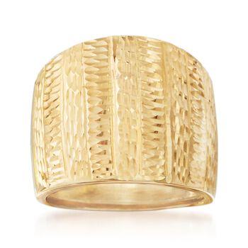 Italian 18kt Yellow Gold Wide Diamond-Cut Stripe Ring, , default
