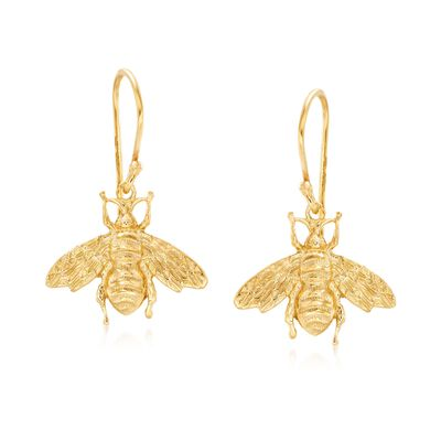 Italian 18kt Yellow Gold Over Sterling Silver Bee Drop Earrings, , default