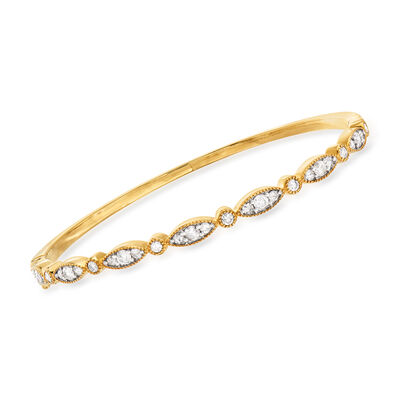 1.30 ct. t.w. Diamond Bangle Bracelet in 18kt Gold Over Sterling