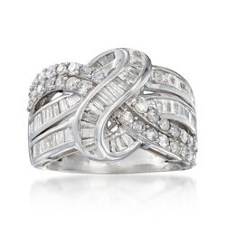 2.00 ct. t.w. Baguette and Round Diamond Twist Ring in Sterling Silver, , default