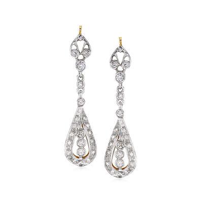 C. 2000 Vintage .70 ct. t.w. Diamond Drop Earrings in 14kt Two-Tone Gold, , default