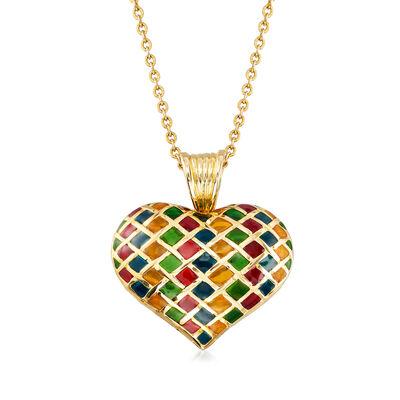 C. 1980 Vintage Plique-A-Jour Enamel Heart Pendant Necklace in 18kt Yellow Gold, , default