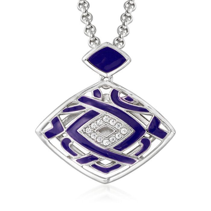 "Belle Etoile ""Virago"" Twilight Blue Enamel Pendant in Sterling Silver"