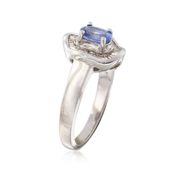 C. 1990 Vintage .60 Carat Purple Sapphire and .25 ct. t.w. Diamond Ring in 14kt White Gold. Size 7, , default