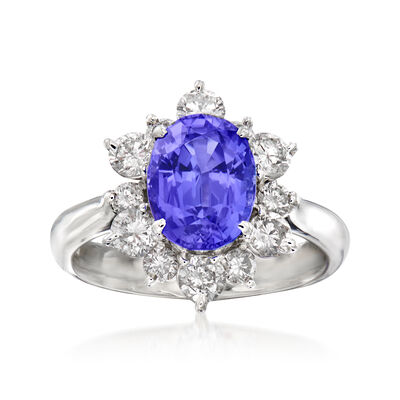 C. 1990 Vintage 2.51 Carat Tanzanite and 1.03 ct. t.w. Diamond Ring in Platinum
