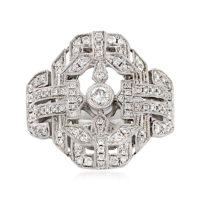.60 ct. t.w. Diamond Milgrain Ring in 18kt White Gold, , default