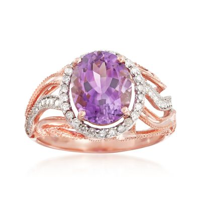 2.70 Carat Oval Amethyst and .24 ct. t.w. Diamond Ring in 14kt Rose Gold , , default