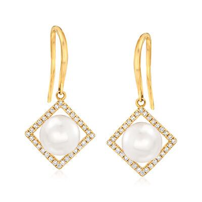 6.5-7mm Cultured Pearl and .19 ct. t.w. Diamond Frame Drop Earrings in 14kt Yellow Gold, , default
