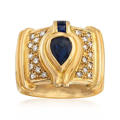 C. 1980 Vintage .80 ct. t.w. Sapphire and .35 ct. t.w. Diamond Ring in 18kt Yellow Gold, , default