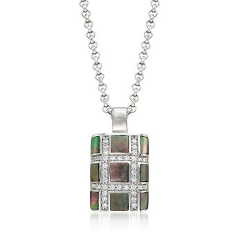 "Belle Etoile ""Regal"" Black Mother-Of Pearl and .50 ct. t.w. CZ Pendant in Sterling Silver, , default"