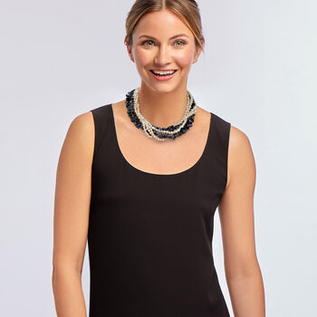 """5-6mm Cultured Pearl and Snowflake Obsidian Torsade Necklace with Sterling Silver. 18"""", , default"""