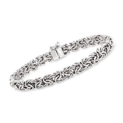 14kt White Gold Byzantine Bracelet with Magnetic Clasp, , default