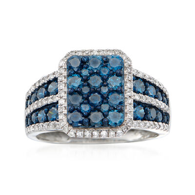 1.50 ct. t.w. Blue and White Diamond Ring in Sterling Silver, , default