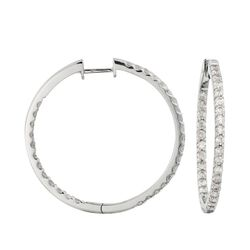 "2.05 ct. t.w. Diamond Inside-Outside Hoop Earrings in 14kt White Gold. 1 1/4"", , default"