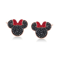 Swarovski Crystal Minnie Mouse Stud Earrings in Rose Gold-Plated Metal, , default