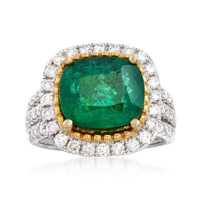 4.25 Carat Emerald and 1.10 ct. t.w. Diamond Ring in 18kt Two-Tone Gold