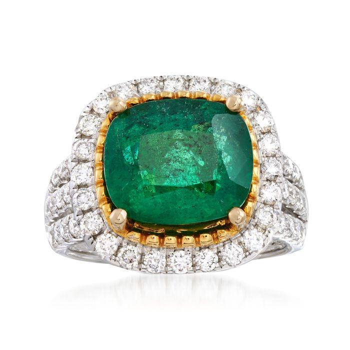 4.25 Carat Emerald and 1.10 ct. t.w. Diamond Ring in 18kt Two-Tone Gold, , default